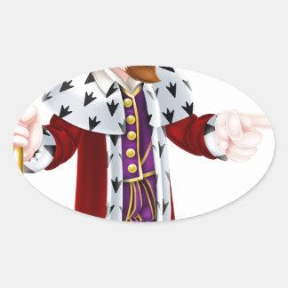 Fun Cartoon King Pointing Oval Sticker