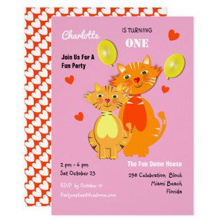 Fun Cartoon Kitty Cats Adorable Birthday Party Card
