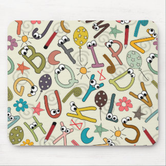 Fun Cartoon Letters with Eyes Mouse Pad