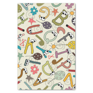 Fun Cartoon Letters with Eyes Tissue Paper
