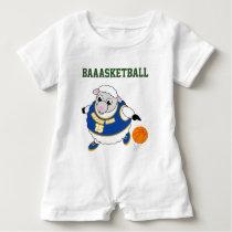 Fun cartoon of a sheep dribbling a basketball, baby romper