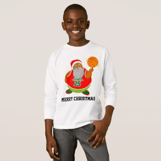 Fun cartoon of Black Santa spinning a basketball, T-Shirt