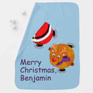 Fun cartoon of Santa Claus & Rudolph ice skating, Swaddle Blanket