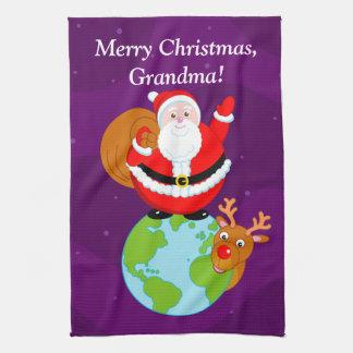 Fun cartoon of Santa Claus standing on the Earth, Hand Towel