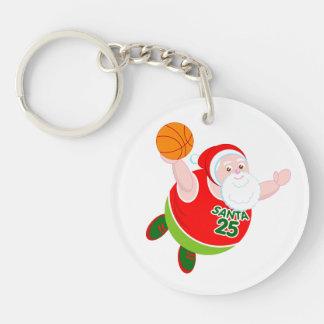 Fun cartoon of Santa & Rudolph playing basketball, Keychain