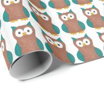 Fun Cartoon Owl Cute Bird Brown Owls Gift Wrap