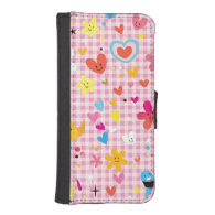fun cartoon pattern pink phone wallet cases