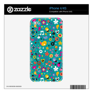 fun cartoon pattern teal decal for the iPhone 4S