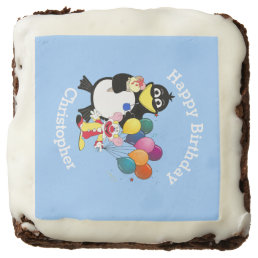 Fun cartoon penguin kids happy birthday chocolate brownie