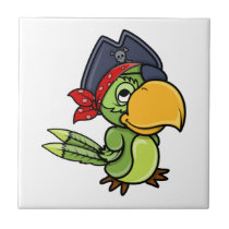Fun Cartoon Pirate Parrot Ceramic Tile