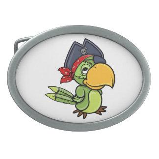 Fun Cartoon Pirate Parrot Oval Belt Buckle