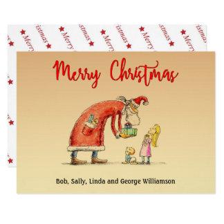 Fun Cartoon Santa Delivers Gifts Christmas Card