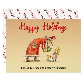 Fun Cartoon Santa Delivers Gifts Happy Holidays Card