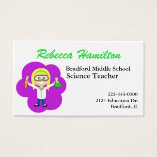 Fun Cartoon Science Teacher's Business Card