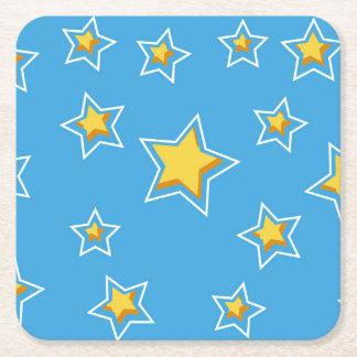 Fun Cartoon Stars on Blue Square Paper Coaster
