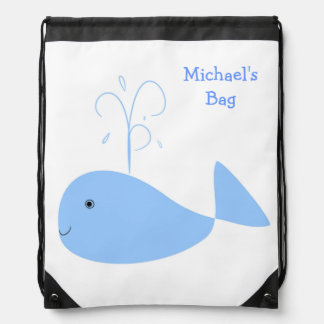 Fun Cartoon Whale with Waterspout Kids Custom Name Drawstring Backpack