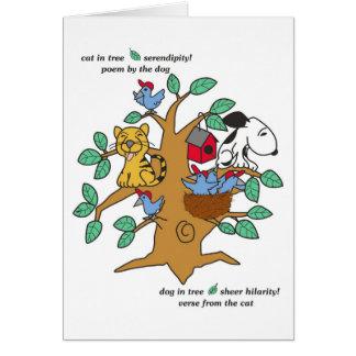 Fun cat and dog in tree card