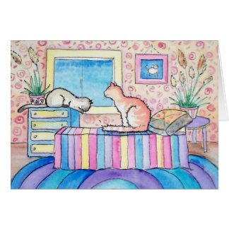Fun Cat Cart Folk Art Watercolor by Molly Harrison Greeting Card