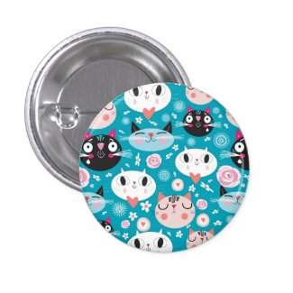 Fun Cat Faces 1 Inch Round Button