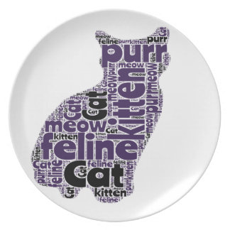 Fun Cat Graphic Word Art Design Plate