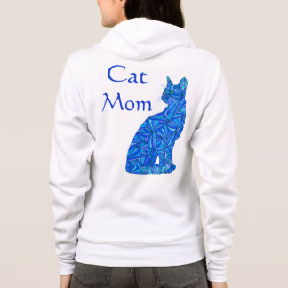 Fun Cat Mom Blue Abstract Sitting Cat Art Apparel Hoodie