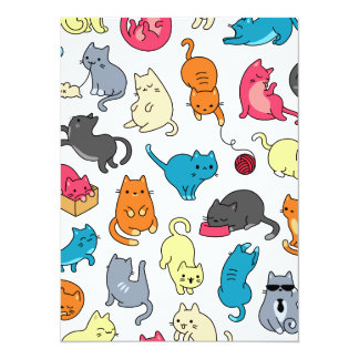 Fun cat themed patterns card