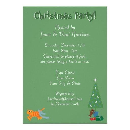 Fun Cat With Tinsel On Tail Xmas Party Invitations