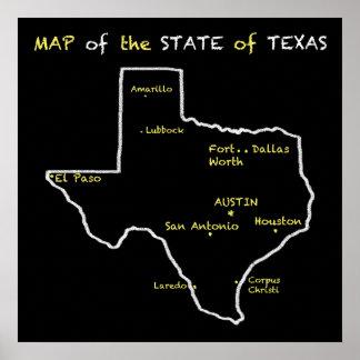 Fun Chalkboard Map of Texas Poster