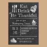 Fun Chalkboard Thanksgiving Invitation