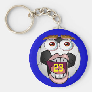 Fun Cheap Soccer Gifts for Kids with JERSEY NUMBER Basic Round Button Keychain