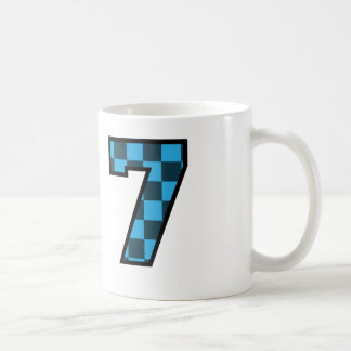 Fun Check Patterned Number 7 Seven A02 Blue White Coffee Mug