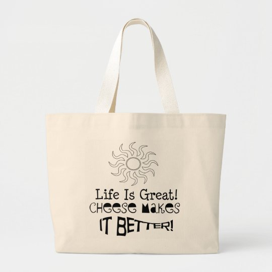 Fun Cheese Grocery Bag! Large Tote Bag