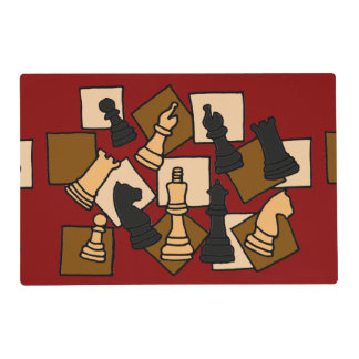Fun Chess Pieces Abstract Art Placemat