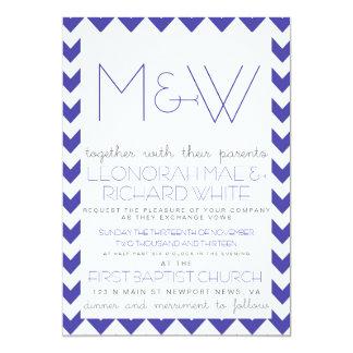 Fun Chevron Monogram Invitation in Blue