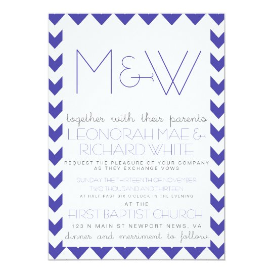Fun Chevron Monogram Invitation in Blue