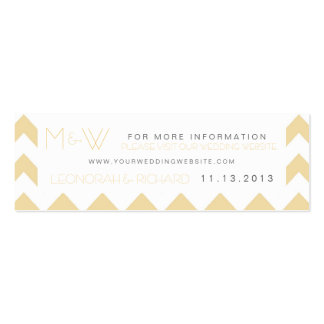 Fun Chevron Monogram Wedding Website Card Double-Sided Mini Business Cards (Pack Of 20)