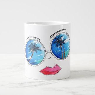 Fun Chic Tropical Beach Sunglasses Design Mug Cup 20 Oz Large Ceramic Coffee Mug