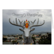 Fun Chicken and Rudolph Christmas Greeting Card! Card