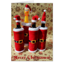 Fun Chicken and Wine Christmas Greeting Card! Card