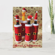 Fun Chicken and Wine Christmas Greeting Card! Holiday Card