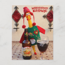 Fun Chicken Christmas Postcard! Holiday Postcard