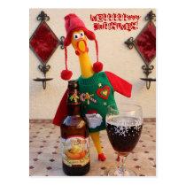 Fun Chicken Christmas Postcard! Postcard
