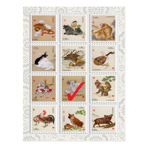 Fun Chinese Zodiac Happy Birthday Happy New Year Postcard Sales 3941