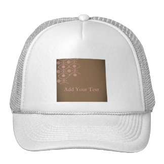 Fun Chocolate and Pink Block Print Trucker Hat