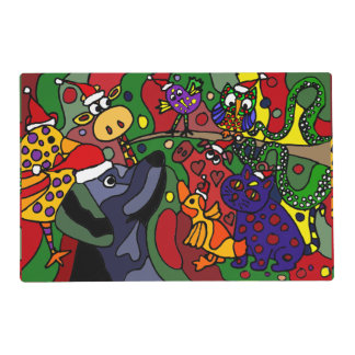 Fun Christmas Animals Abstract Placemat