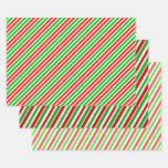 [ Thumbnail: Fun Christmas Colors Lines/Stripes Pattern Wrapping Paper Sheets ]