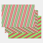 [ Thumbnail: Fun Christmas Colours Stripes/Lines Wrapping Paper ]