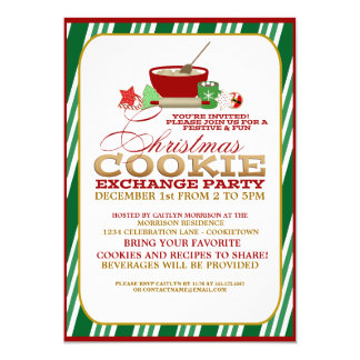 Fun Christmas Cookie Exchange Party Invitation