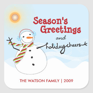 Fun Christmas Cute Snowman Cheers Holiday Stickers