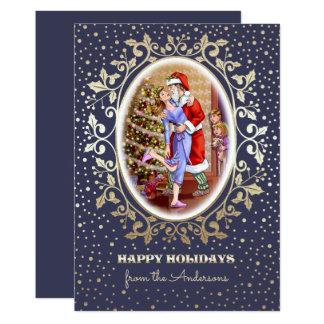 Fun Christmas Family Scene Flat Christmas Cards